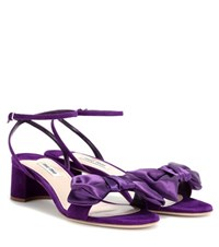 Miu Miu Suede And Satin Sandals Purple