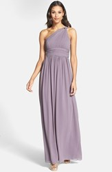 Women's Donna Morgan 'Rachel' Ruched One Shoulder Chiffon Gown Grey Ridge