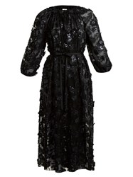 Huishan Zhang Luna Floral Embroidered Wrap Dress Black