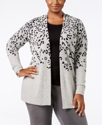 Charter Club Plus Size Cashmere Animal Print Cardigan Heather Crystal