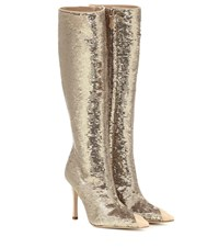 Alessandra Rich Sequined Leather Trimmed Boots Gold