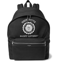 Saint Laurent City Leather Trimmed Printed Canvas Backpack Black