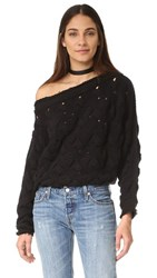 Free People Desert Sands Cable Pullover Black