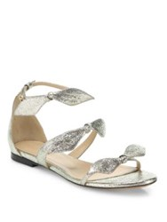 Chloe Mia Metallic Leather Knotted Bow Flat Sandals Grey