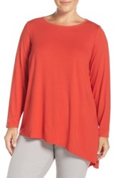 Eileen Fisher Asymmetrical Lightweight Jersey Crewneck Top Plus Size Red