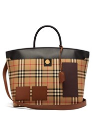 Burberry Society House Check Canvas Tote Bag Beige Multi