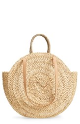 Street Level Circle Straw Tote Beige Natural