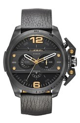 Men's Diesel 'Ironside' Chronograph Leather Strap Watch 55Mm Black Black