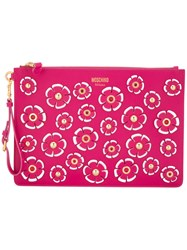 Moschino Flower Power Clutch Women Leather Metal One Size Pink Purple