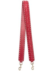 Valentino Rockstud Embellished Quilted Bag Strap Women Leather Metal One Size Red