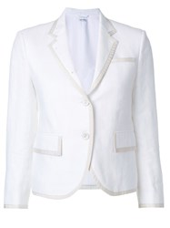 Thom Browne Tennis Collection Grosgrain Tipped Single Breasted Sport Coat Women Cotton Linen Flax Cupro 42 White
