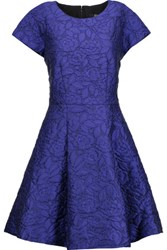 Badgley Mischka Pleated Cloque Mini Dress Royal Blue