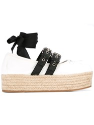 Miu Miu Platform Lace Up Espadrilles White