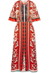 Temperley London Odyssey Lace Trimmed Printed Hammered Silk Midi Dress Tomato Red