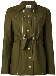 Courreges Belted Military Jacket Green
