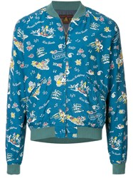 Hysteric Glamour Printed Bomber Jacket Blue