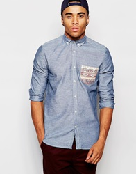 New Look Denim Shirt With Aztec Pocket Detailing Blue