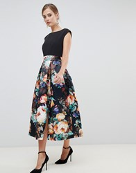 Closet London 2 In 1 Contrast Sateen Prom Midi Dress In Multi Print