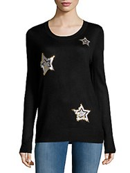 Saks Fifth Avenue Red Sequin Star Sweater Black Silver