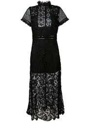 John Richmond Leather Trim Lace Dress Women Leather Polyester M Black