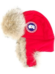 Canada Goose Fur Lined Flight Hat Red
