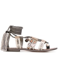 Sam Edelman Gretchen Sandals Women Calf Leather Leather Canvas Rubber 7 Grey