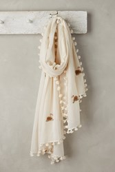 Anthropologie Sequined Swan Scarf White