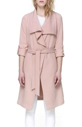 Soia And Kyo Roll Sleeve Drape Front Long Trench Coat Blush