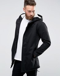 Only And Sons Fishtail Parka With Borg Lined Hood Black