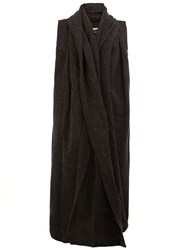 A New Cross Sleeveless Long Cardigan Black