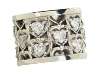 King Baby Studio Heart Patterned Ring With Cz Stones Sterling Silver Cz Ring