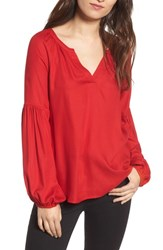 Hinge Women's Blouson Sleeve Top Red Barbados