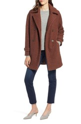 Halogen Double Breasted Boucle Coat Cognac