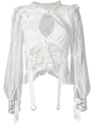 For Love And Lemons Lace Strappy Top White