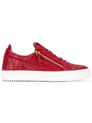 Giuseppe Zanotti Design Frankie Low Top Sneakers Men Leather Rubber 41 Red