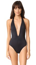 Solid And Striped The Willow Plunge Neck One Piece Black