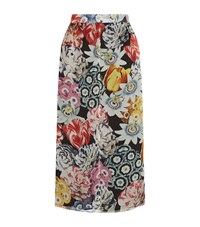 Burberry Floral Print Silk Knee Length Skirt Female Multi