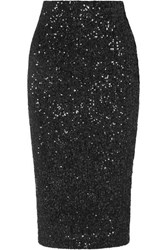 Rebecca Vallance Mica Sequined Lurex Skirt Black