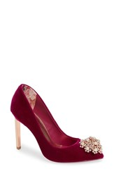 Ted Baker London Peetchv Embroidered Pump Cherry Velvet
