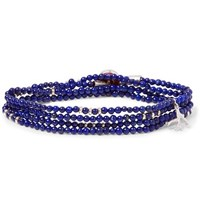 Isaia Saracino Sterling Silver Beaded Wrap Bracelet Royal Blue