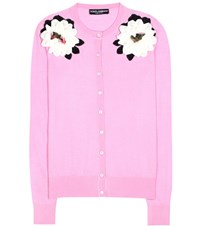 Dolce And Gabbana Embellished Cashmere Silk Cardigan Pink