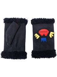 Agnelle Patch Embroidered Gloves Blue