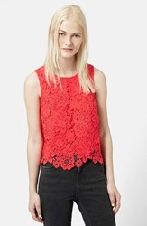 Women's Topshop Floral Crochet Shell Top Red