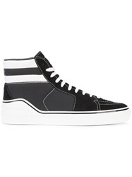 Givenchy Striped Hi Top Sneakers Leather Suede Canvas Rubber Black
