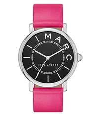 Marc Jacobs Roxy Stainless Steel And Leather Black Satin Dial Three Hand Strap Watch Pink