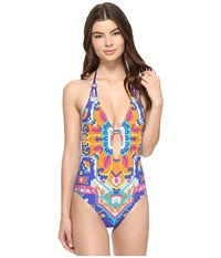 Trina Turk Tapestry Plunge One Piece Multi Women's Swimsuits One Piece