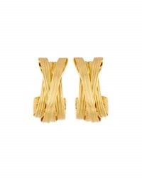 Roberto Coin 18K Satin Finished Crisscross Hoop Earrings