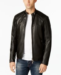 Armani Jeans Men's Eco Quilted Faux Leather Jacket Black