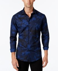 Vince Camuto Men's Camouflage Print Long Sleeve Shirt Navy Black