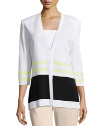 Ming Wang Striped 3 4 Sleeve V Neck Jacket White Black Yellow